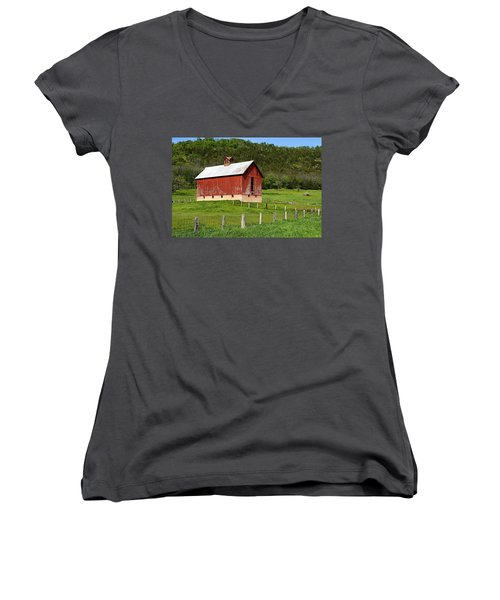 Red Barn With Cupola Women's V-Neck