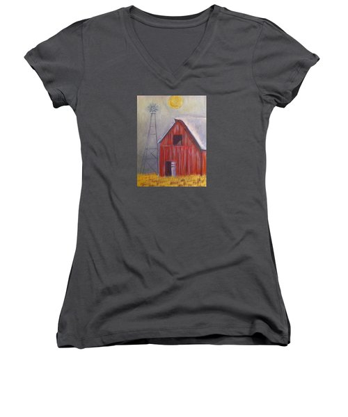 Red Barn With Windmill Women's V-Neck (Athletic Fit)