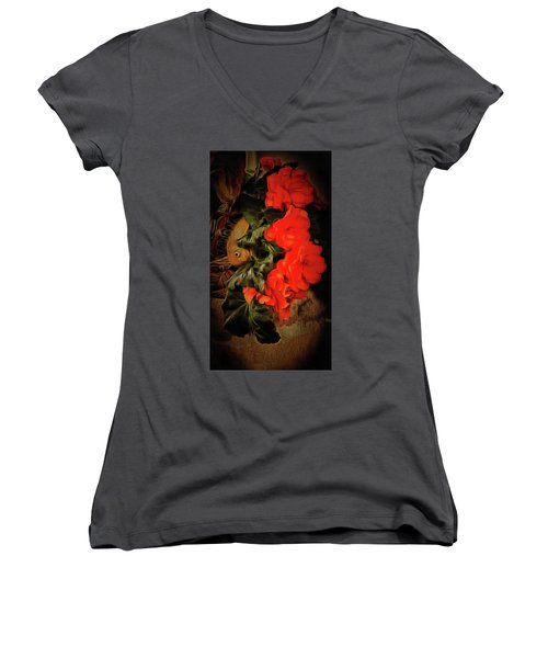 Women's V-Neck T-Shirt (Junior Cut) featuring the photograph Red Begonias by Thom Zehrfeld