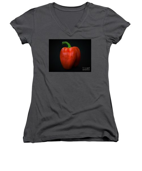 Red Bell Pepper Women's V-Neck (Athletic Fit)
