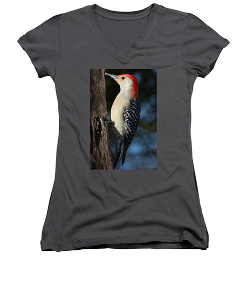 Red-bellied Woodpecker 3 Women's V-Neck T-Shirt (Junior Cut) by Kenneth Cole
