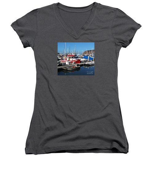 Red Boat Women's V-Neck T-Shirt (Junior Cut) by Cheryl Del Toro