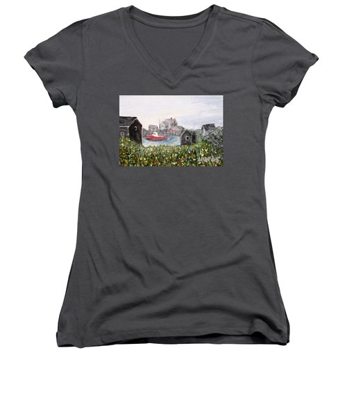 Women's V-Neck T-Shirt (Junior Cut) featuring the painting Red Boat In Peggys Cove Nova Scotia  by Ian  MacDonald