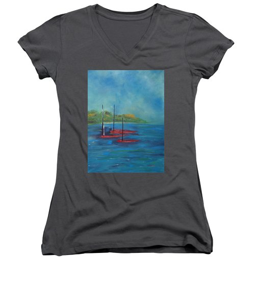 Women's V-Neck T-Shirt featuring the painting Red Boats by Judith Rhue