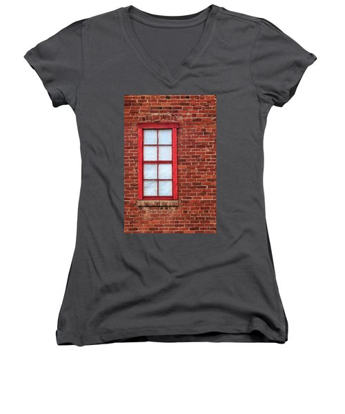 Red Brick And Window Women's V-Neck T-Shirt (Junior Cut) by James Eddy