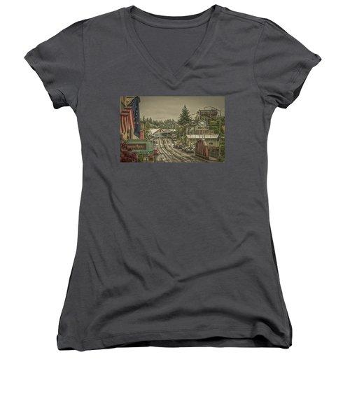 Red Bridge Haze Women's V-Neck T-Shirt