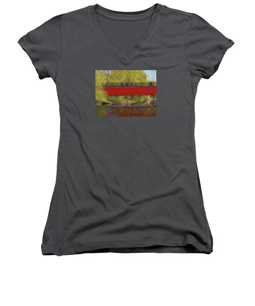 Red Bridge Women's V-Neck T-Shirt (Junior Cut) by Vladimir Kholostykh