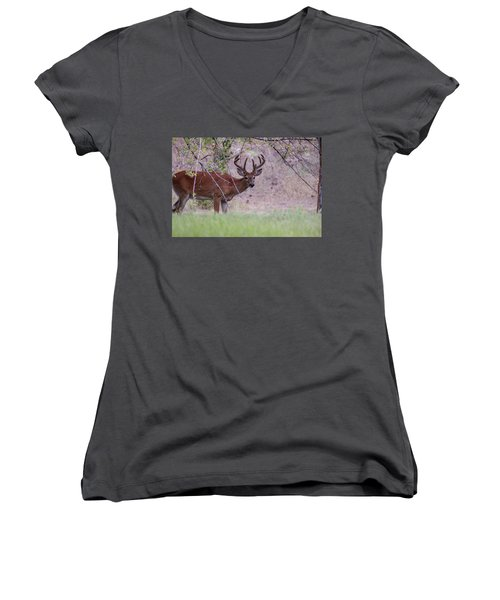 Women's V-Neck featuring the photograph Red Bucks 2 by Antonio Romero