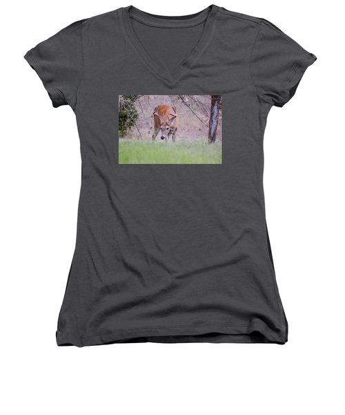 Women's V-Neck featuring the photograph Red Bucks 6 by Antonio Romero
