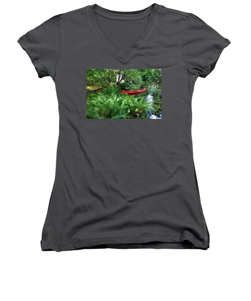 Red Canoe In The Adk Women's V-Neck T-Shirt (Junior Cut) by David Patterson