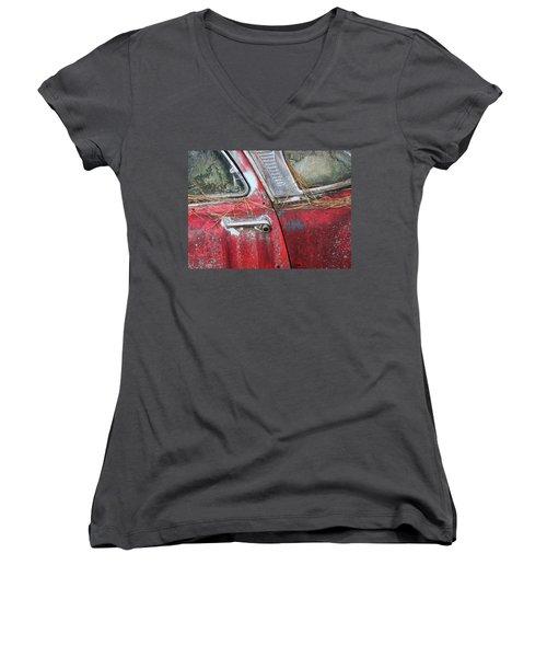 Red Car Door Handle Women's V-Neck T-Shirt