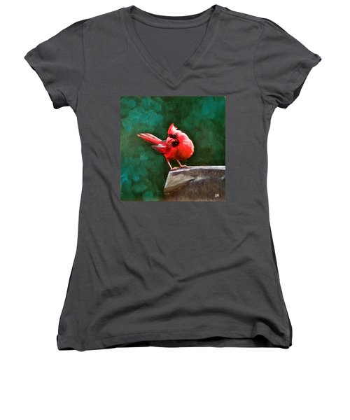 Red Cardinal Women's V-Neck (Athletic Fit)