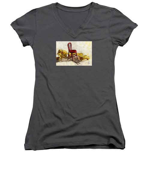 Red Chair And Yellow Leaves Women's V-Neck (Athletic Fit)