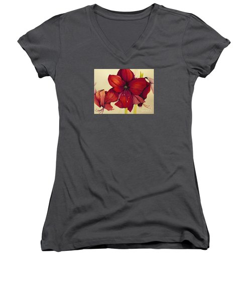 Women's V-Neck T-Shirt (Junior Cut) featuring the painting Red Christmas Amaryllis by Rachel Lowry