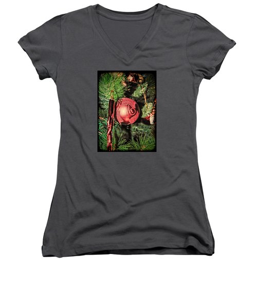 Red Christmas Ornament Women's V-Neck T-Shirt (Junior Cut) by Isam Awad