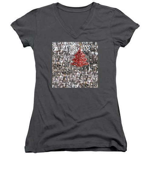 Women's V-Neck T-Shirt (Junior Cut) featuring the photograph Red Christmas Tree by Ulrich Schade