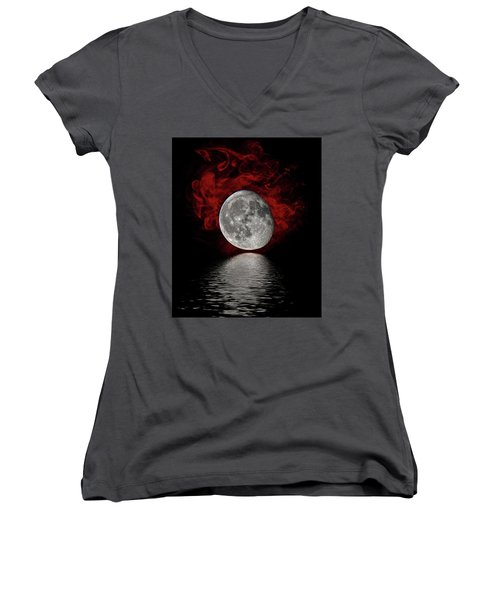 Red Cloud With Moon Over Water Women's V-Neck T-Shirt