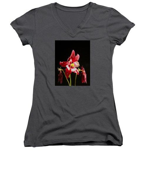 Red Columbine Flower Women's V-Neck T-Shirt