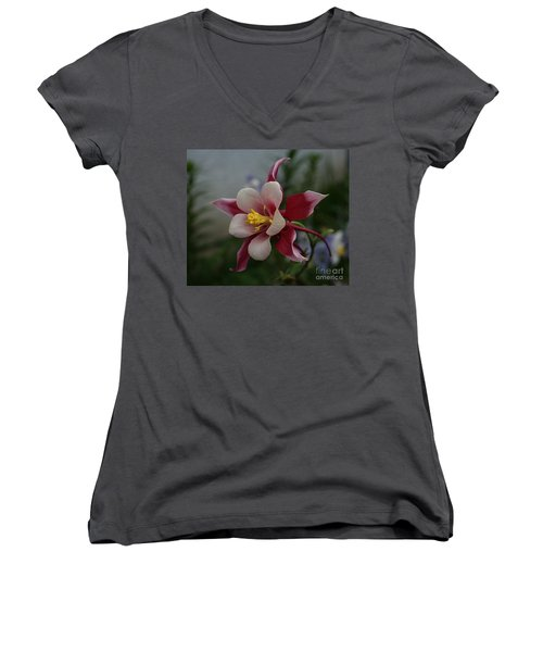 Red Columbine Women's V-Neck (Athletic Fit)