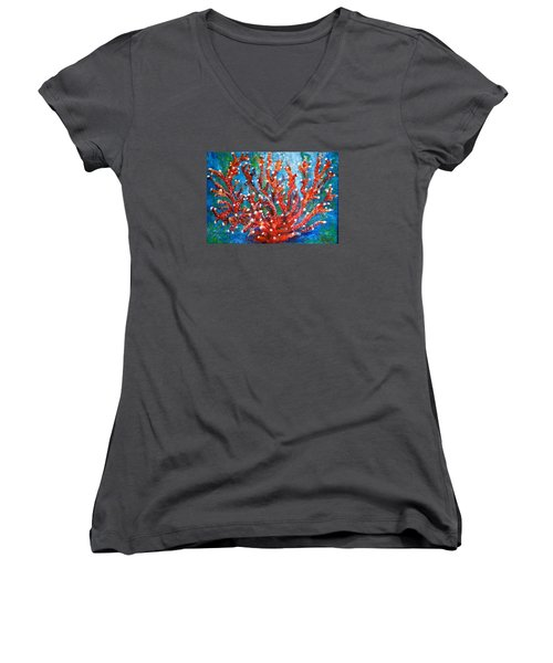 Red Coral Women's V-Neck T-Shirt (Junior Cut) by Edgar Torres