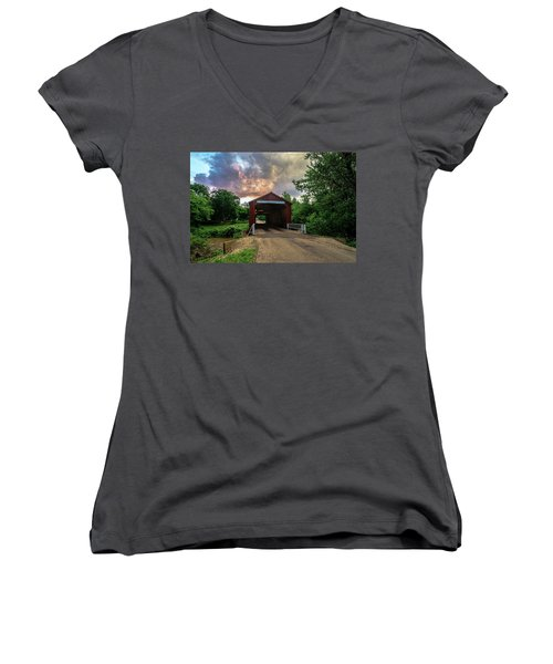 Red Covers Bridge With Pretty Sky  Women's V-Neck