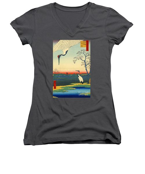 Red Crowned Cranes 1857 Women's V-Neck T-Shirt (Junior Cut) by Padre Art