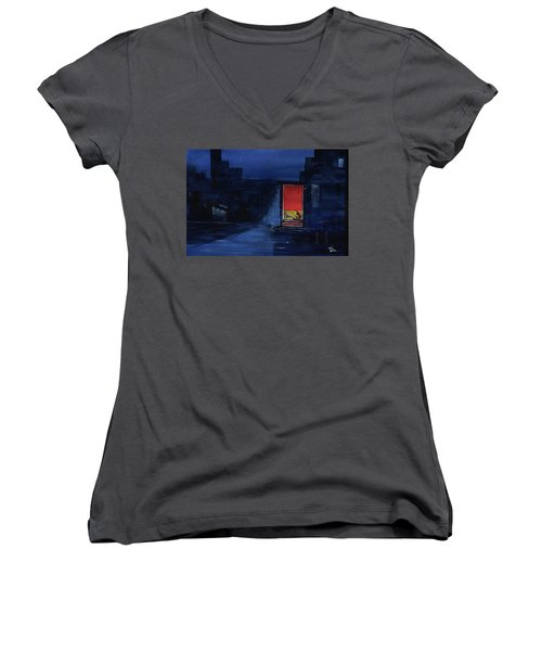 Women's V-Neck T-Shirt (Junior Cut) featuring the painting Red Curtain by Anil Nene