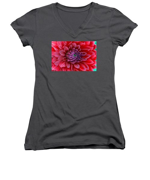 Women's V-Neck T-Shirt (Junior Cut) featuring the photograph Red Dalia Up Close by James Steele