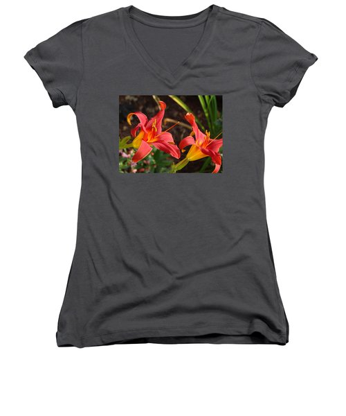 Red Daylilies Women's V-Neck T-Shirt