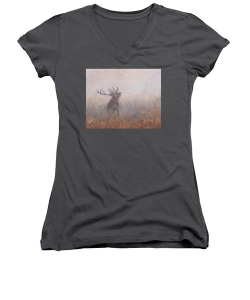 Women's V-Neck T-Shirt (Junior Cut) featuring the painting Red Deer Stag Early Morning by David Stribbling