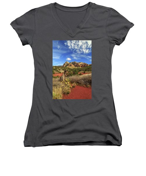 Red Dirt And Cactus In Sedona Women's V-Neck T-Shirt (Junior Cut) by James Eddy