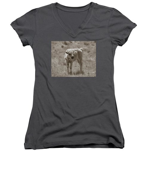 Women's V-Neck T-Shirt (Junior Cut) featuring the photograph Red Dog Buffalo Calf by Rebecca Margraf