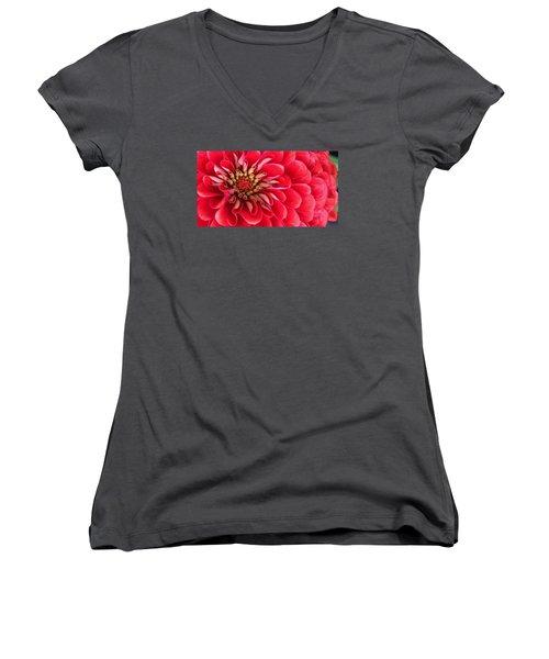Red Explosion Women's V-Neck T-Shirt (Junior Cut) by Bruce Bley