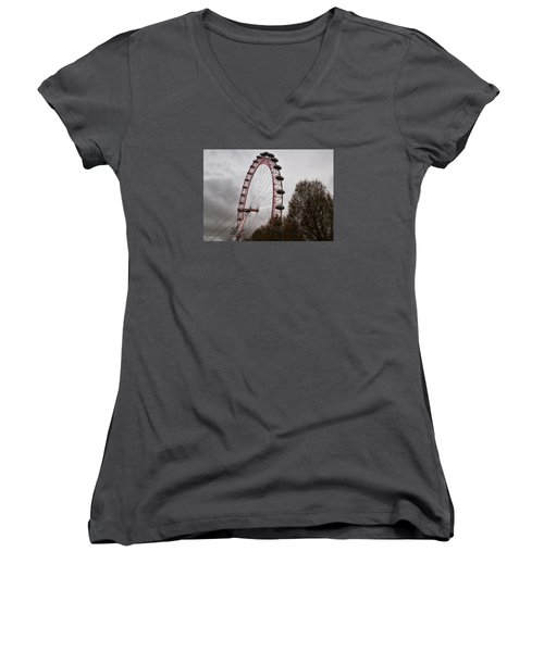 Women's V-Neck T-Shirt (Junior Cut) featuring the photograph Red Eye by Shirley Mitchell