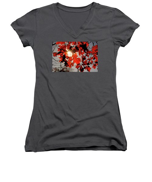 Women's V-Neck T-Shirt (Junior Cut) featuring the photograph Red Fall Leaves by Meta Gatschenberger