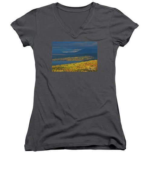 Red Farm House In Evening Light Women's V-Neck T-Shirt (Junior Cut) by Alana Ranney