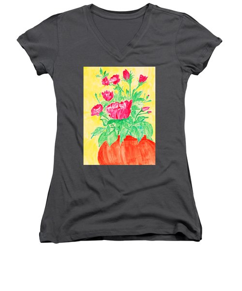 Red Flowers In A Brown Vase Women's V-Neck