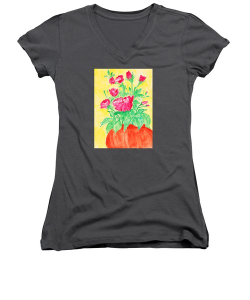 Red Flowers In A Brown Vase Women's V-Neck T-Shirt