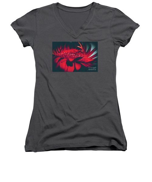 Women's V-Neck T-Shirt (Junior Cut) featuring the photograph Red Flowers Parametric by Sharon Mau