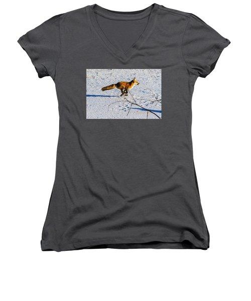 Red Fox On The Run Women's V-Neck