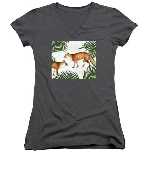 Red Fox Pair Women's V-Neck T-Shirt (Junior Cut) by Uma Gokhale