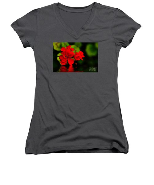 Red Geranium On Water Women's V-Neck