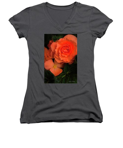 Red Giant Begonia Ruffle Form Women's V-Neck