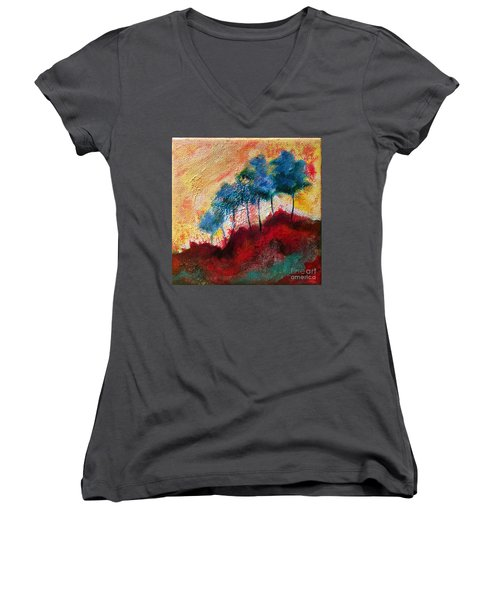 Red Glade Women's V-Neck T-Shirt (Junior Cut) by Elizabeth Fontaine-Barr
