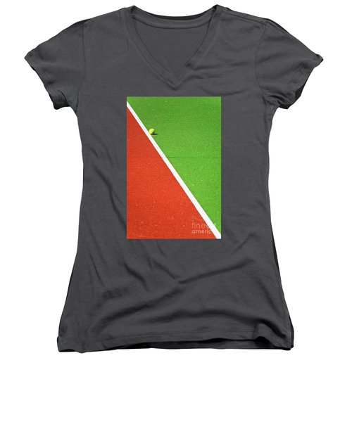 Red Green White Line And Tennis Ball Women's V-Neck T-Shirt