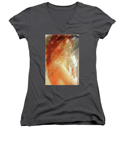 Women's V-Neck T-Shirt (Junior Cut) featuring the digital art Red Head Drinking Coffee by Andrea Barbieri