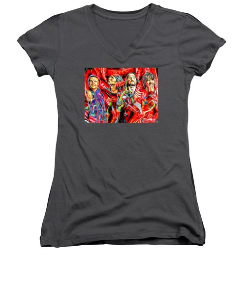 Red Hot Chili Peppers In Color II  Women's V-Neck T-Shirt (Junior Cut) by Daniel Janda