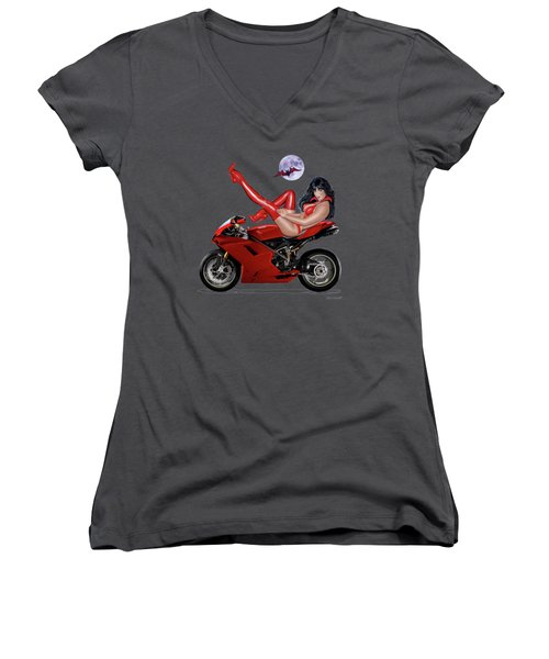 Red Hot Rider Women's V-Neck T-Shirt (Junior Cut) by Glenn Holbrook