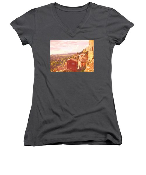 Women's V-Neck featuring the digital art Red House On A Hill by Shelli Fitzpatrick