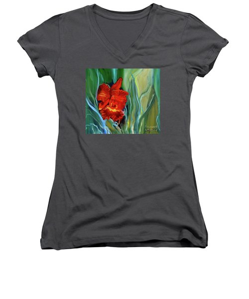 Red Jungle Orchid Women's V-Neck (Athletic Fit)